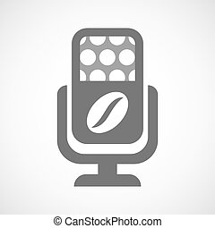 Isolated microphone icon with a coffee bean