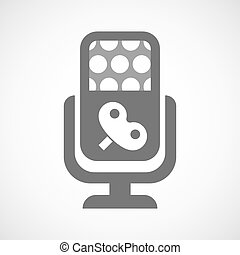Isolated microphone icon with a toy crank - Illustration of...