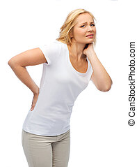 unhappy woman suffering from backache - people, healthcare,...