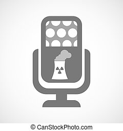 Isolated microphone icon with a nuclear power station -...