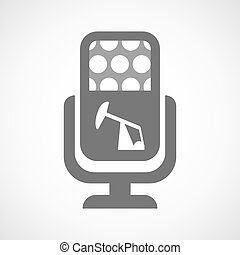 Isolated microphone icon with a horsehead pump -...