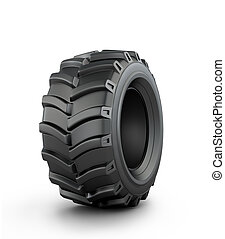 Large rubber tire on a white background