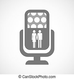 Isolated microphone icon with a heterosexual couple...