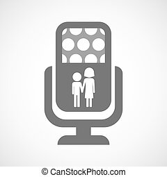 Isolated microphone icon with a childhood pictogram -...