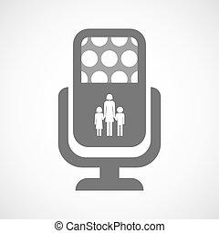 aislado, micrófono, icono, con, Un, hembra, solo,...