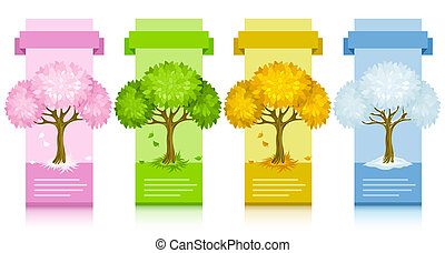 set of banners with tree from different seasons illustration