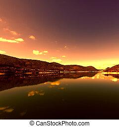 Lake Turano - Wooded Shore of the Lake Turano in Italy at...