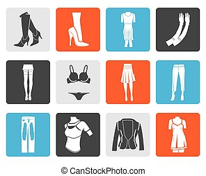 woman and female clothes icons - Black woman and female...