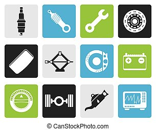 Car Parts and Services icons - Black Realistic Car Parts and...