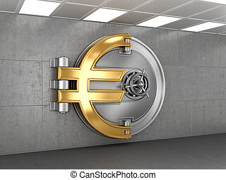 Business abstract background; Door of a Vintage Locked Safe...