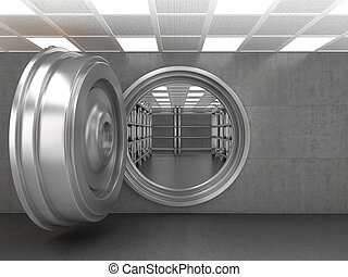 The doorway of a bank vault