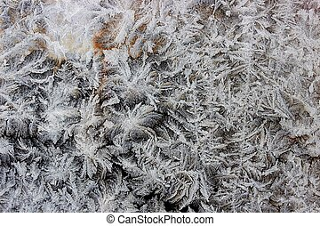 frost on the window - a photo of a frozen window with...
