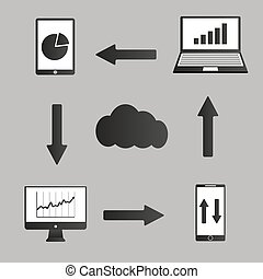 Mobile devices , computer and business icons set