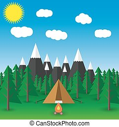 summer  landscape Vector flat illustration