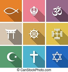 World religion symbols flat set with christian, Jewish,...