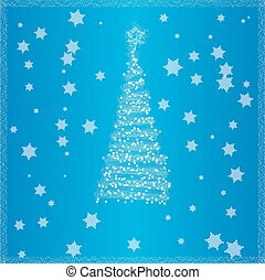 Christmas tree blue background