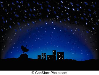 night sky city scape