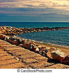 Breakwater Protecting the Beaches of the French Riviera at...