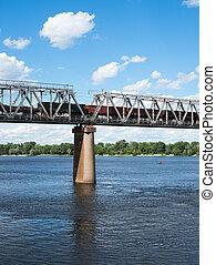 Uno, de, el, muelles, secundario, el, ferrocarril, Puente,