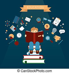 Concept of Education with Reading Books