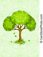 summer tree on green background with ornament illustration