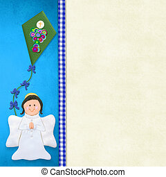 My First Holy Communion invitation card, happy angel praying...