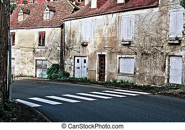 Crosswalk in the Small French Town, Retro Image Filtered...