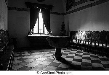 Baptismal font room, Olivenza , Spain - Baptismal font room...