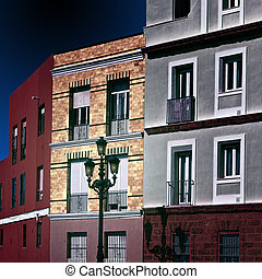 Facades of the Houses in the Spanish City of Cadis at Night,...