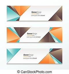 Triangle Banner Orange, blue, brown