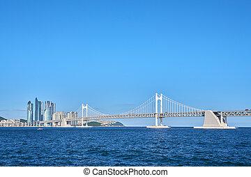 gwangan, 都市, 海洋, 橋, 大きい