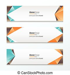 Abstract Triangle Banner Orange, blue, brown