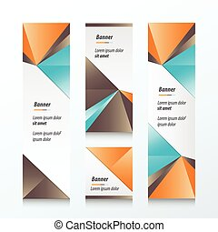 Triangle Vertical Banner Orange, blue, brown