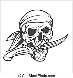 Pirate Skull in Headband with Sword on white background.