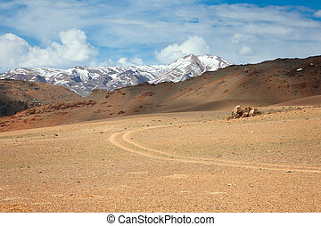 road track in the mountains of southern Altai central Asia