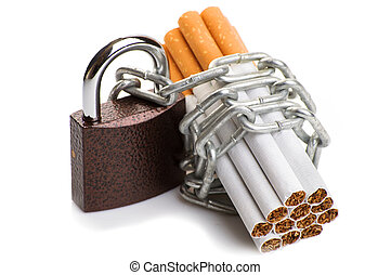 Pack of cigarettes and a padlock with chain. concept stop...