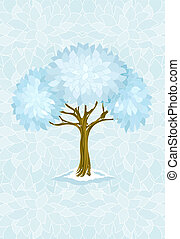 winter tree on blue background with ornament