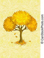 autumn tree on yellow background with ornament illustration,...