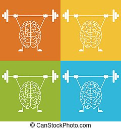 Train your brain. Creative concept vector illustration.