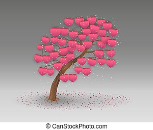 love tree having heart shapes - Vector illustration of a...