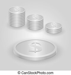 Silver coin with dollar sign