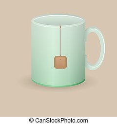 green tea mug with bag vector illustration