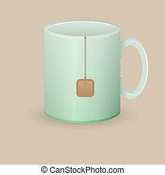 green tea mug with bag vector illustration