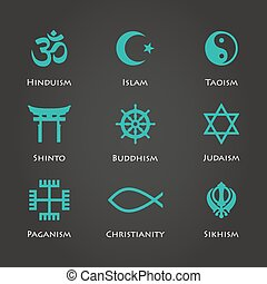 World religion symbols cyan color set with christian,...