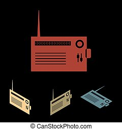 Radio silhuette icon set - Radio silhouette. Vector icon set...