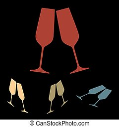 Sparkling champagne glasses. Vector icon set with isometric...