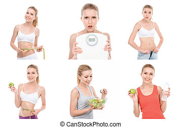 Young slim girl posing with various objects.