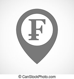Isolated map marker with a swiss franc sign - Illustration...