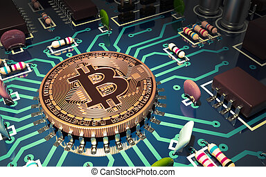 Concept Of Bitcoin Like A Computer Chip On Motherboard. 3D...