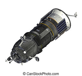 Cargo Spacecraft Closed Solar Panels 3D Model